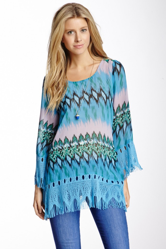 Fringe Trim Tunic Blouse
