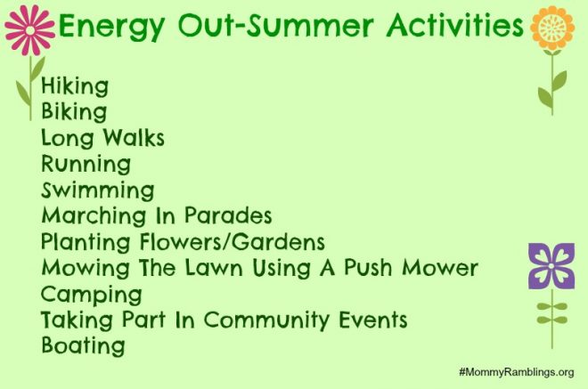 Energy Out Summer Activities